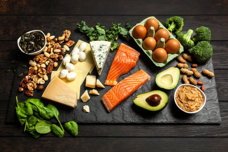 Display of Keto diet food ingredients